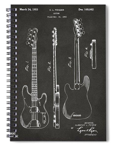 1953 Fender Bass Guitar Patent Artwork - Gray Spiral Notebook
