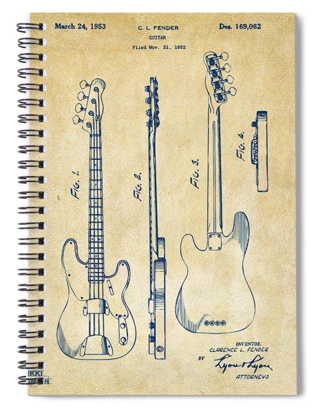 1953 Fender Bass Guitar Patent Artwork - Vintage Spiral Notebook
