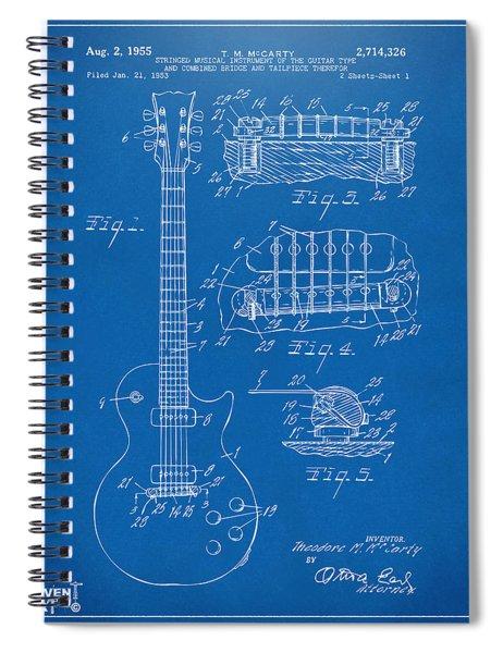 1955 Mccarty Gibson Les Paul Guitar Patent Artwork Blueprint Spiral Notebook