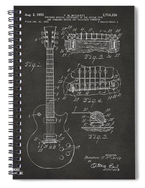 1955 Mccarty Gibson Les Paul Guitar Patent Artwork - Gray Spiral Notebook