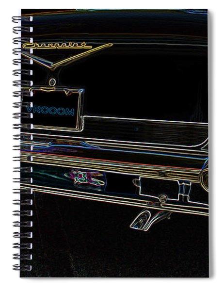 1957 Chevrolet Rear View Art Black_varooom Tag Spiral Notebook