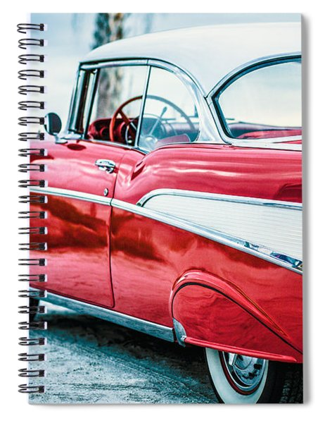 Spiral Notebook featuring the photograph 1957 Chevy Bel Air by Edward Fielding