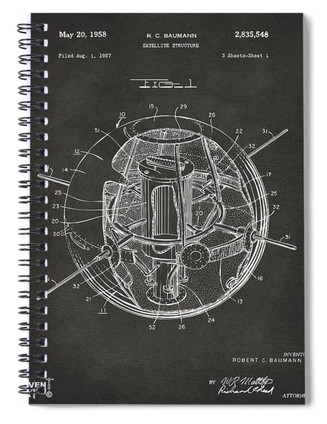 1958 Space Satellite Structure Patent Gray Spiral Notebook