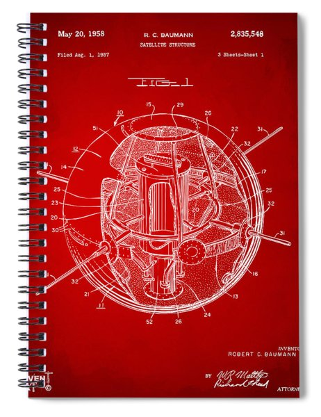 1958 Space Satellite Structure Patent Red Spiral Notebook