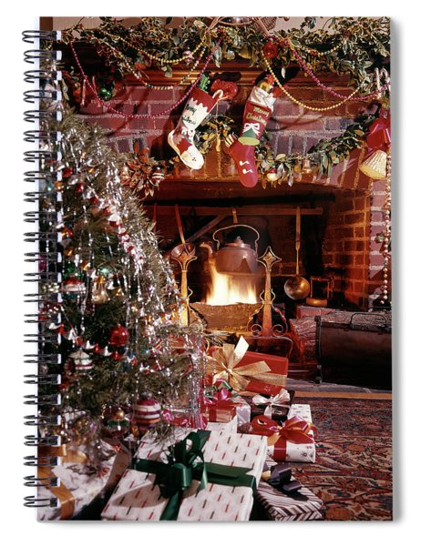 1960s Christmas Tree Stockings Presents Spiral Notebook