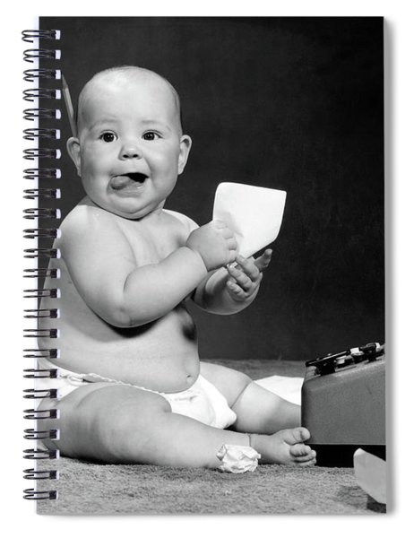 1960s Eager Baby Accountant Working Spiral Notebook