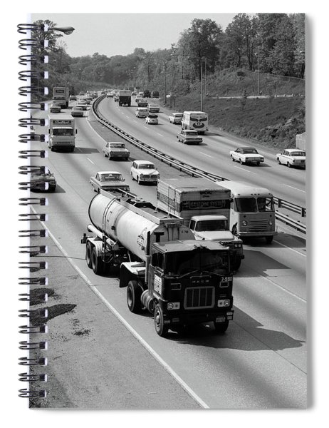 1960s Tanker Truck Traveling On Busy Spiral Notebook