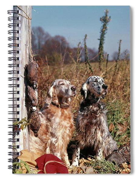 1960s Two English Setter Dogs Sitting Spiral Notebook