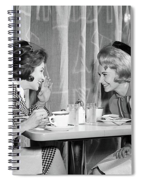 1960s Two Women Gossiping At Lunch Spiral Notebook