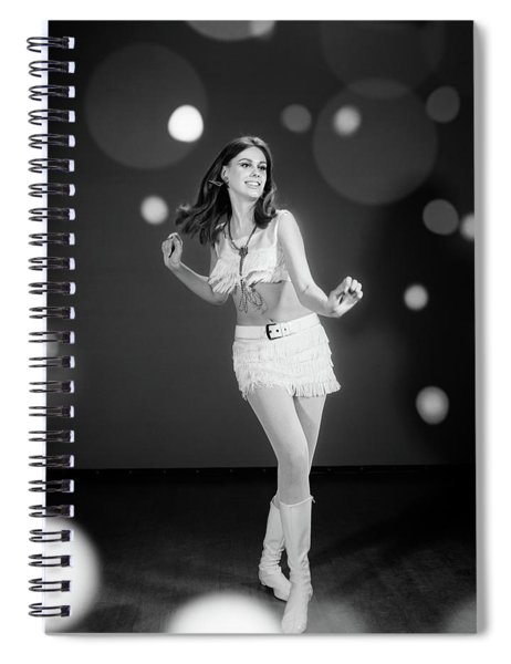 1960s Woman Dancing In White Fringed Spiral Notebook