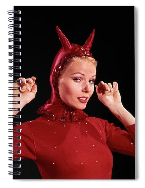1960s Woman Red Devil Costume Spiral Notebook