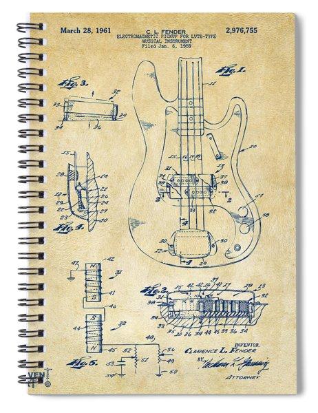 1961 Fender Guitar Patent Artwork - Vintage Spiral Notebook