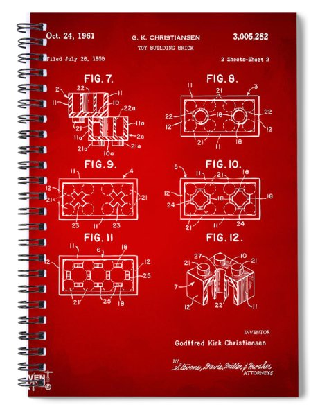 1961 Lego Brick Patent Art Red Spiral Notebook