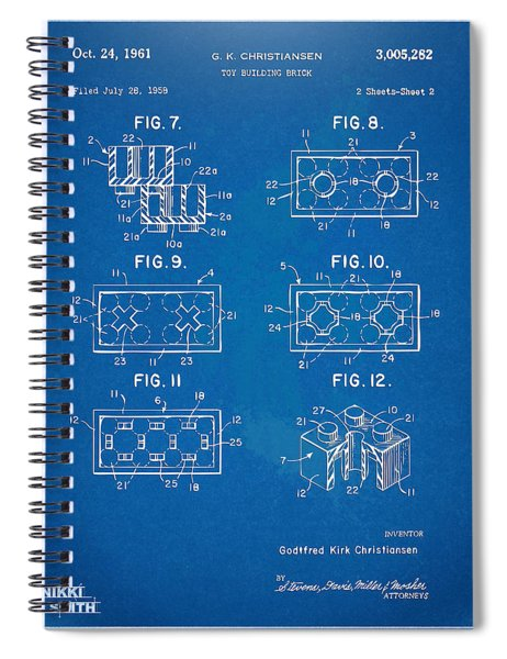 1961 Lego Brick Patent Artwork - Blueprint Spiral Notebook