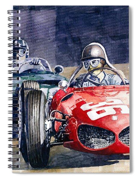 1961 Monaco Gp #36 Ferrari 156 Ginther  #18 Brm Climax P48 G Hill Spiral Notebook