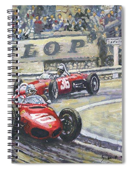 1961 Monaco Gp Ferrari 156 #40 Trips #36 Ginther Spiral Notebook