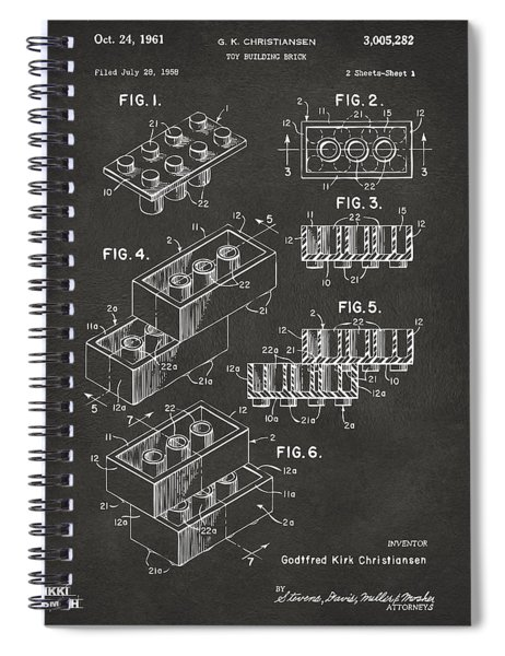 1961 Toy Building Brick Patent Art - Gray Spiral Notebook