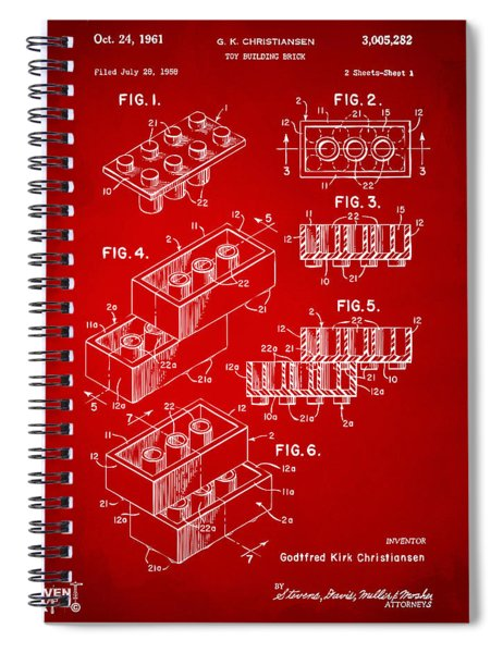 1961 Toy Building Brick Patent Art Red Spiral Notebook