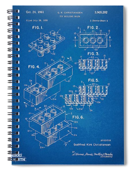 1961 Toy Building Brick Patent Artwork - Blueprint Spiral Notebook