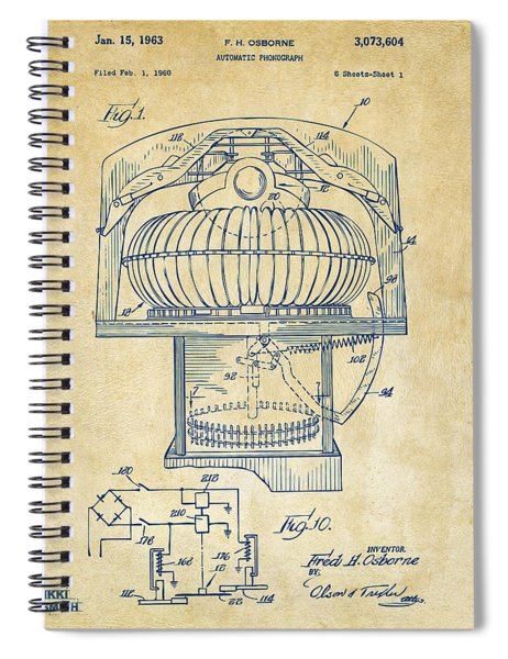 1963 Jukebox Patent Artwork - Vintage Spiral Notebook