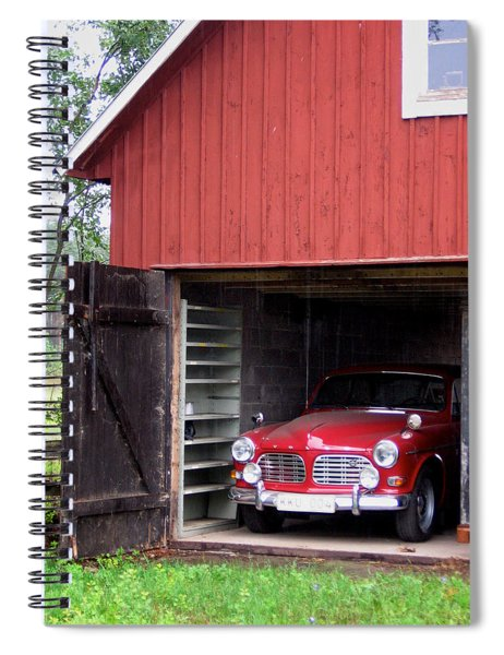 1967 Volvo In Red Sweden Barn Spiral Notebook