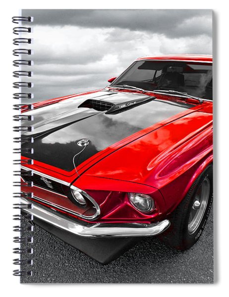 1969 Red 428 Mach 1 Cobra Jet Mustang Spiral Notebook