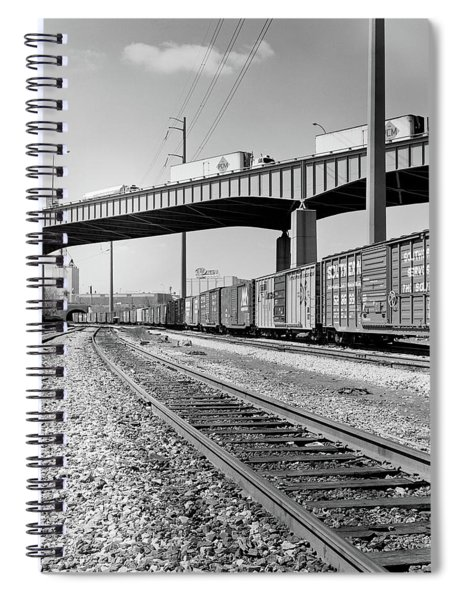 1970s Angled View Of Freight Train Spiral Notebook