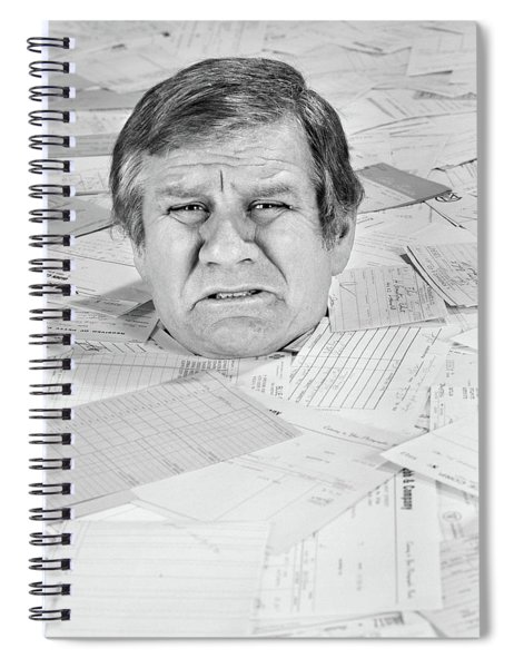 1970s Distressed Man Up To His Neck Spiral Notebook