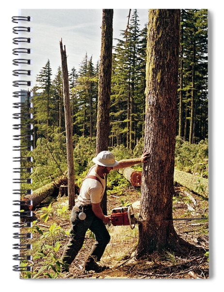 1970s Lumberjack Cutting Tree Mount Spiral Notebook