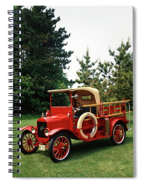 1970s Red 1924 Model T Ford Fire Truck Spiral Notebook