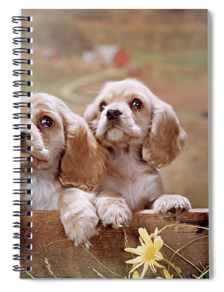 1970s Two Cocker Spaniel Puppies Spiral Notebook