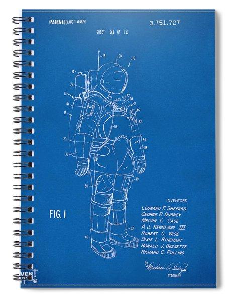 1973 Space Suit Patent Inventors Artwork - Blueprint Spiral Notebook