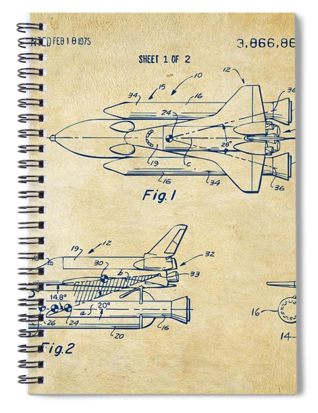 1975 Space Shuttle Patent - Vintage Spiral Notebook