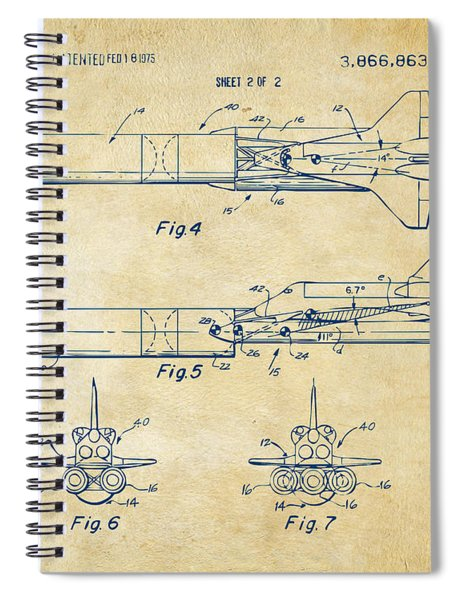 1975 Space Vehicle Patent - Vintage Spiral Notebook
