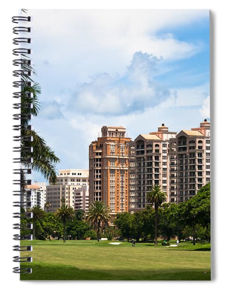 Spiral Notebook featuring the photograph 1st Hole At Granada Golf Course by Ed Gleichman