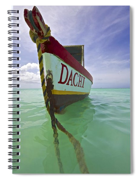 Anchored Colorful Fishing Boat Of Aruba II Spiral Notebook