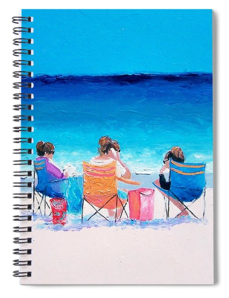 Beach Painting 'girl Friends' By Jan Matson Spiral Notebook