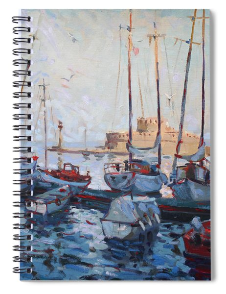 Boats In Rhodes Greece  Spiral Notebook