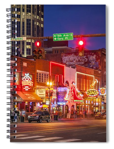 Spiral Notebook featuring the photograph Broadway Street Nashville by Brian Jannsen