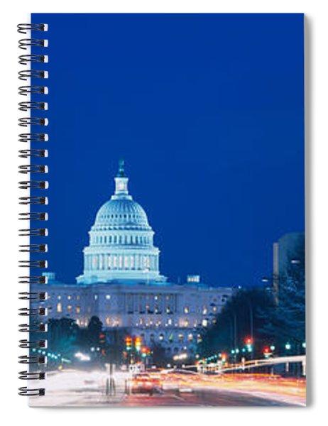 Government Building Lit Up At Dusk Spiral Notebook