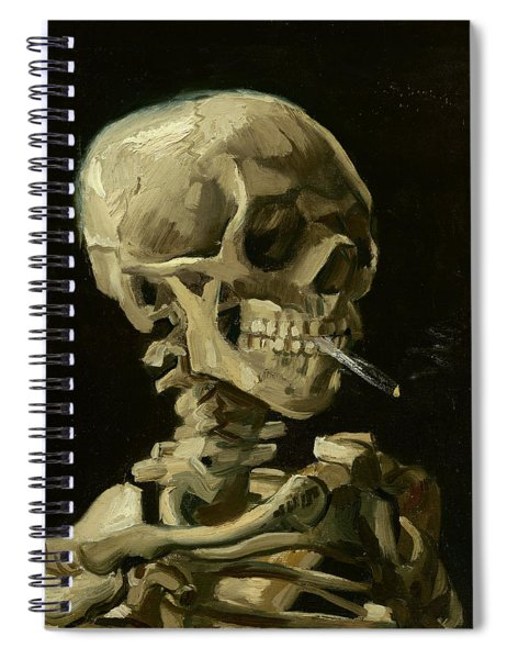 Head Of A Skeleton With A Burning Cigarette Spiral Notebook