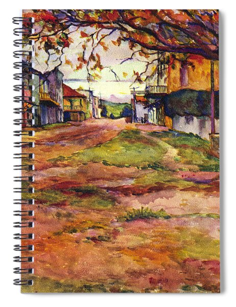 Main Street Of Early Spanish California Days San Juan Bautista Rowena M Abdy Early California Artist Spiral Notebook