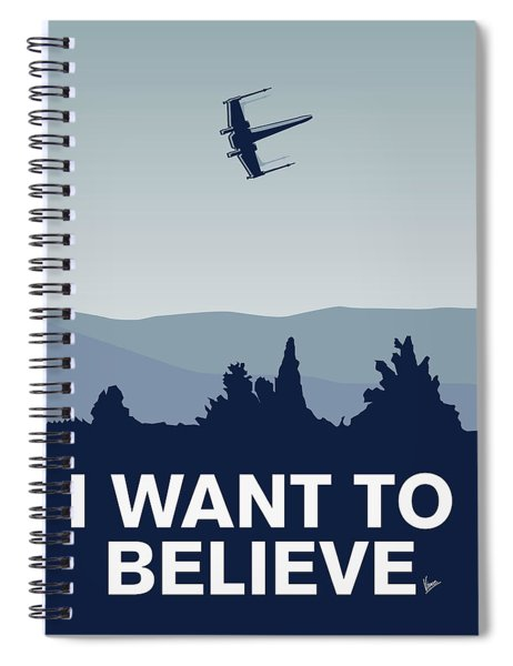 My I Want To Believe Minimal Poster-xwing Spiral Notebook