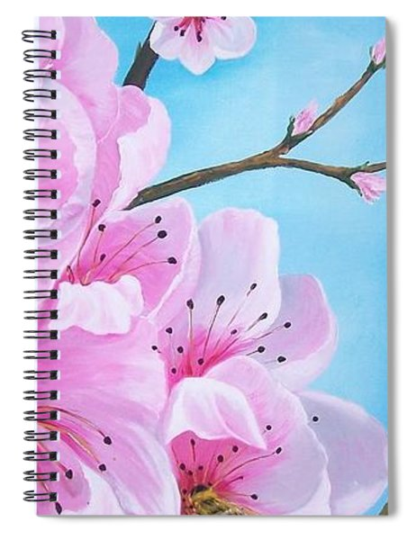 #2 Of Diptych Peach Tree In Bloom Spiral Notebook