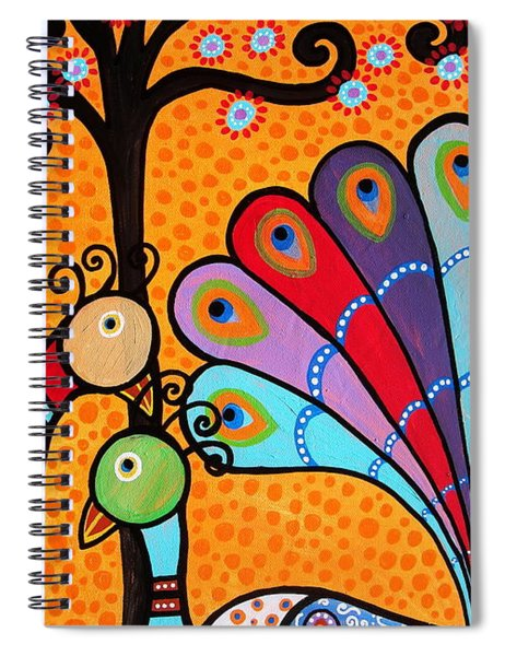 2 Peacocks And Tree Spiral Notebook