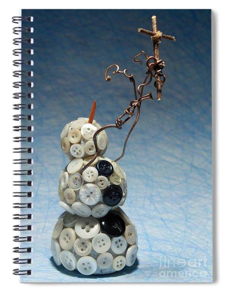 Snowman Holding Christian Cross Christmas Card Spiral Notebook