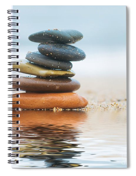 Stack Of Beach Stones On Sand Spiral Notebook