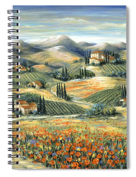 Tuscan Villa And Poppies Spiral Notebook