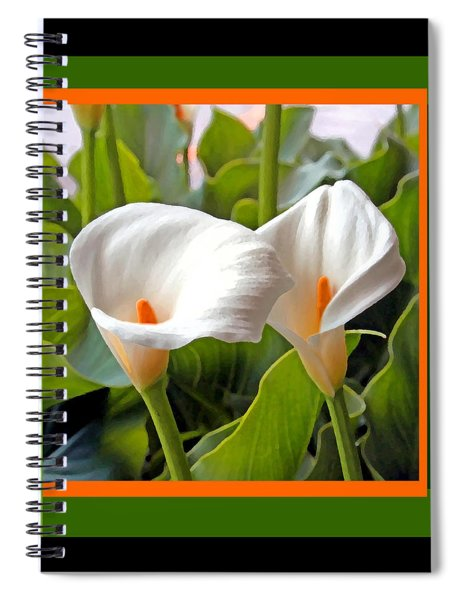 2 White Lily Flowers Spiral Notebook