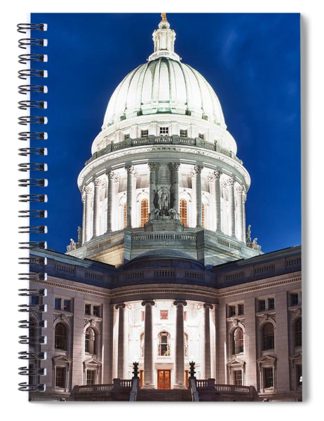 Wisconsin State Capitol Building At Night Spiral Notebook